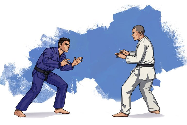 Bjj fighter squaring off against a judo fighter feature image